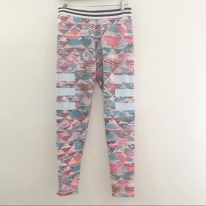 Adidas pastel 3 stripe abstract Climalite legging